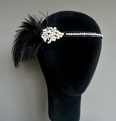 Black Pearl Crystal Feather Flapper Headband