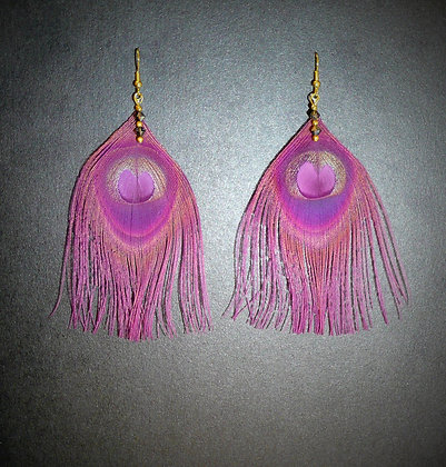 Plum Purple Peacock Feather Earrings Gold Plated