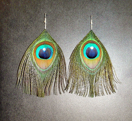 Peacock Feather Earrings Crystal Gold Silver Plate