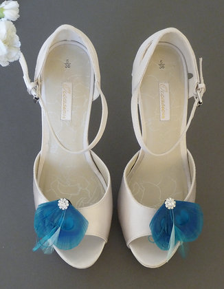 Turquoise Blue Peacock Feather Shoe Clips 'Amelia'