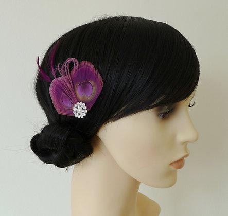 Plum Purple Peacock Feather Hair Clip 'Lisette'