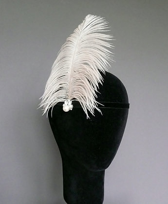 Cream Feather Flapper Headband Velvet Ribbon