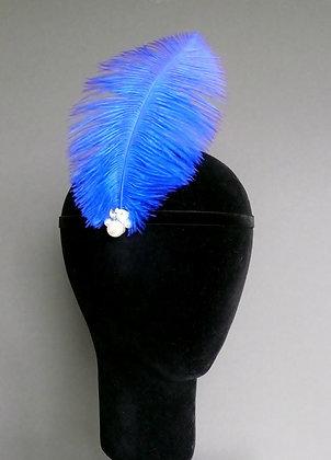 Royal Blue Feather Flapper Headband Velvet Ribbon