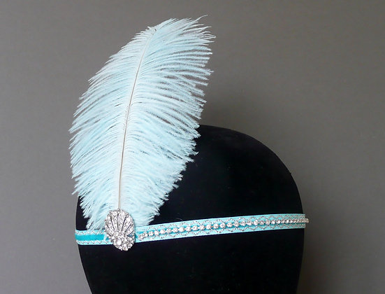 Aqua Blue Feather Flapper Headband Velvet Ribbon