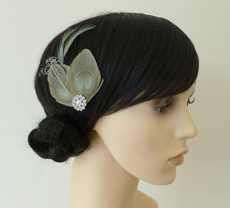 Sage Green Peacock Feather Hair Clip 'Lisette'