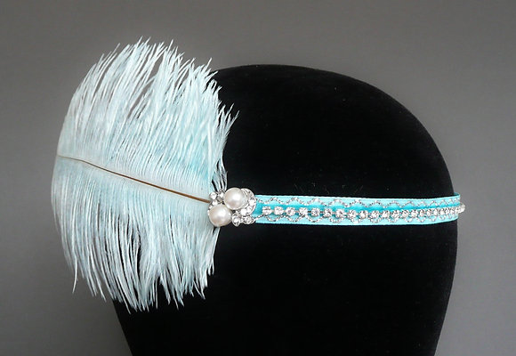 Pale Blue Pearl Feather Flapper Headband Velvet