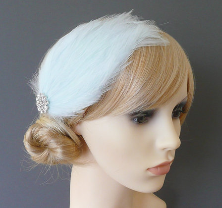 Ice Blue Peacock Feather Hair Clip Vintage Style
