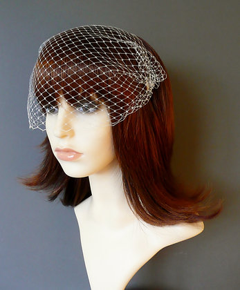 Ivory Bandeau Birdcage Veil Plated Combs 'Lyla'