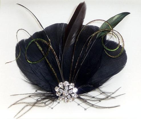 Black and Dark Green Diamante Feather Hair Clip