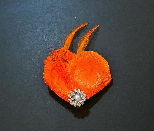 Orange Peacock Feather Hair Clip 'Lisette'