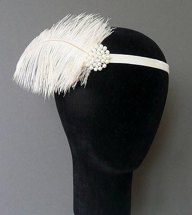 Cream Feather Pearl Flapper Headband Velvet Ribbon