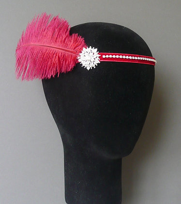 Burgundy Red Feather Flapper Headband Velvet