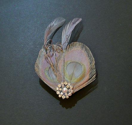 Grey Peacock Feather Hair Clip 'Lisette'
