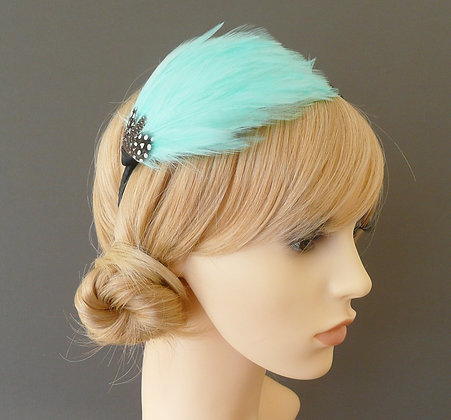 Aqua Blue and Black 'Gwen' Headband