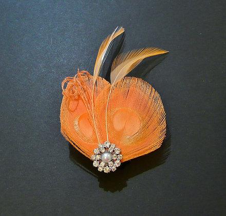Peach Peacock Feather Hair Clip 'Lisette'