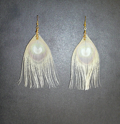 Nude Peacock Feather Earrings Gold Plate Swarovski