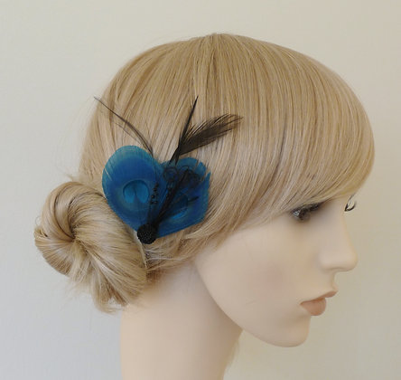 Blue and Black Peacock Feather Hair Clip 'Liv'