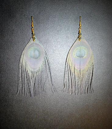 Grey Peacock Feather Earrings Gold Plate Swarovski