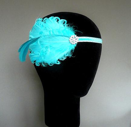 Aqua Blue Turquoise Flapper Headband