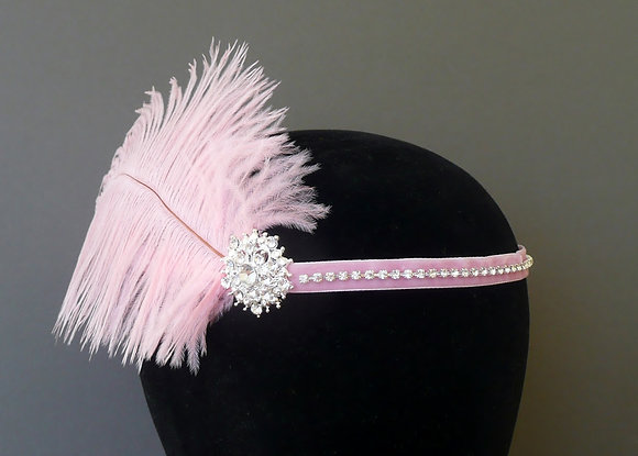 Pale Pink Crystal Feather Flapper Headband Velvet