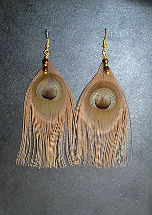 Brown Peacock Feather Earrings Gold Plated