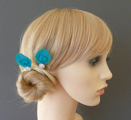 Turquoise Blue Peacock Feather Pearl Hair Grips