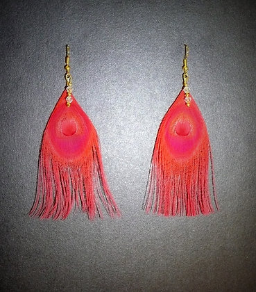 Red Peacock Feather Earrings Gold Plated Clear