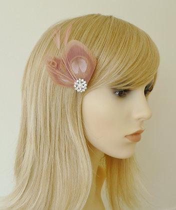 Dusky Pink Peacock Feather Hair Clip 'Lisette'