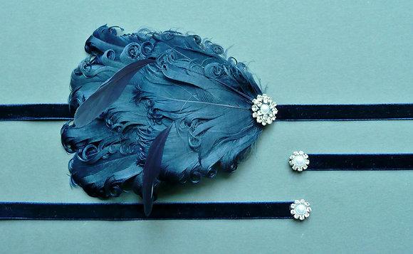 Navy Blue Flapper Headband Velvet Curled Nagoire