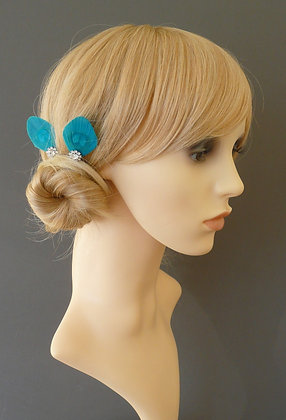 Turquoise Blue Peacock Feather Pins Hair Grips