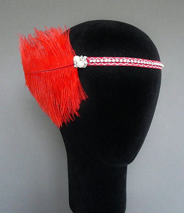 Red Pearl Crystal Feather Flapper Headband Velvet