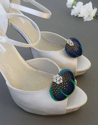 Peacock Feather Crystal Shoe Clips 'Tahlia'