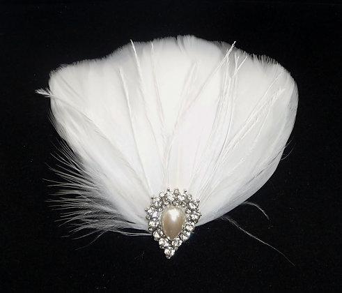 White Feather Hair Clip Pearl Teardrop