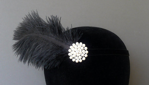 Black Feather Pearl Flapper Headband Velvet Ribbon