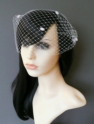 White Dots Birdcage Veil Bandeau Combs 'Minnie'