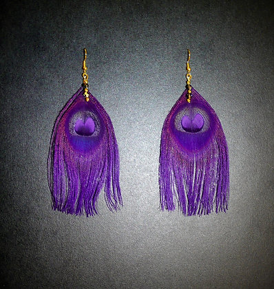 Purple Peacock Feather Earrings Gold Plated