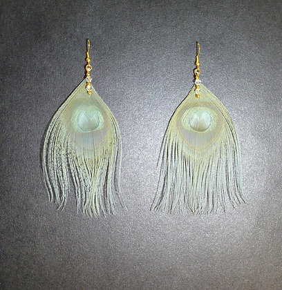 Sage Green Peacock Feather Earrings Gold Plate Cl