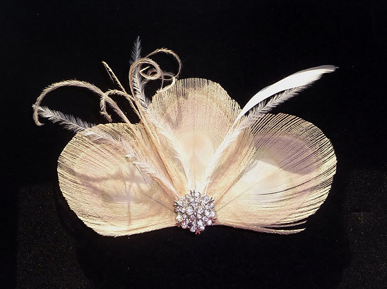 Nude Bleached Peacock Feather Crystal Hair Clip