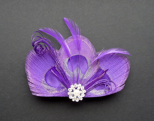 Purple Peacock Feather Hair Clip Crystal Pearl