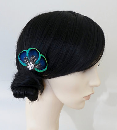 Peacock Feather Turquoise Blue Hair Clip 'Tahlia'