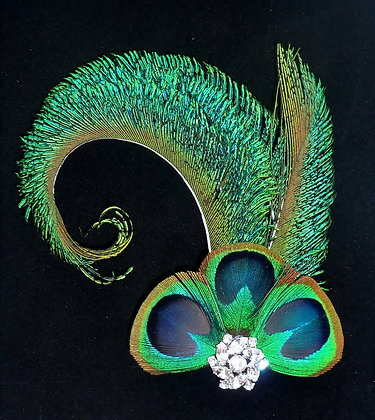 Peacock Feather Curled Blue Hair Clip 'Catherine'