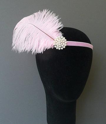 Pale Pink Feather Pearl Flapper Headband Velvet