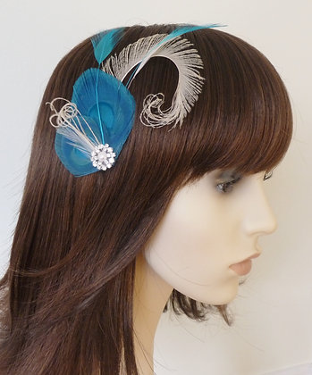 Turquoise Cream Peacock Feather Hair Clip 'Willa'