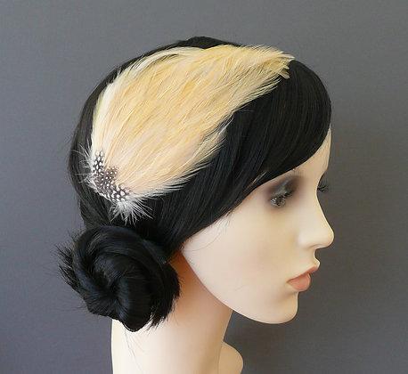 Barley Pale Gold Feather Hair Clip 'Gwen'