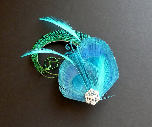 Turquoise Blue Peacock Feather Hair Clip 'Evelyn'
