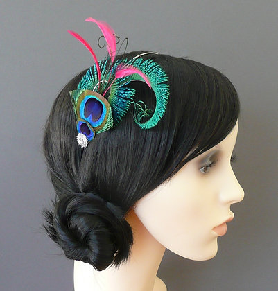Peacock Curl Pink Feathers Crystal Silver Headband