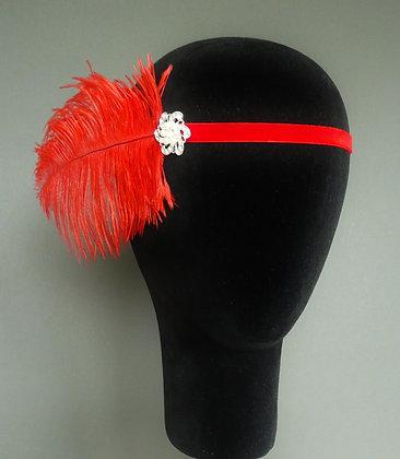 Red Feather Pearl Flapper Headband Velvet Ribbon