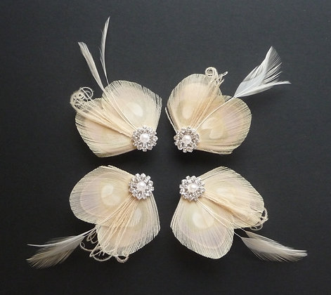 4 Lisette Nude Feather Hair Clips Bridesmaids Set