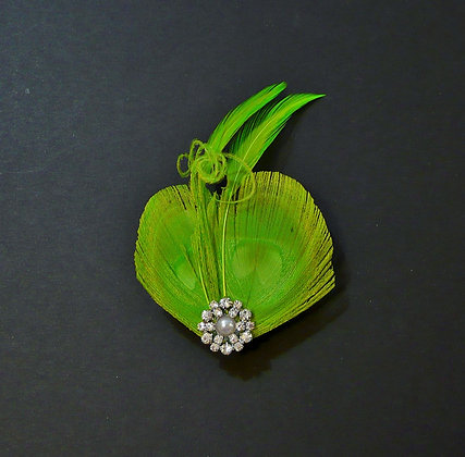 Lime Green Peacock Feather Hair Clip 'Lisette'