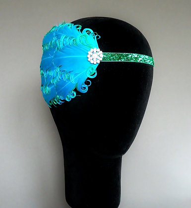 Turquoise Blue and Green Flapper Headband
